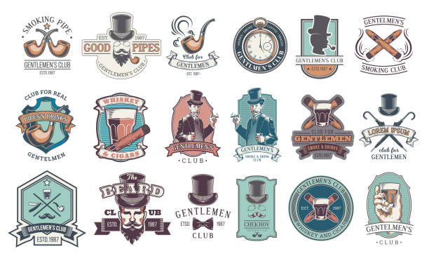 stockillustraties, clipart, cartoons en iconen met set of vintage gentleman emblems, labels. - guy with cigar