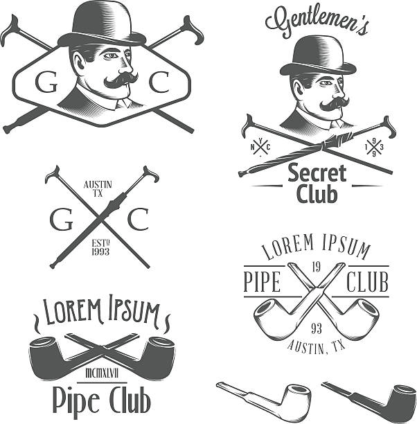 set of vintage gentlemen's club design elements - old man face silhouettes stock illustrations, clip art, cartoons, & icons