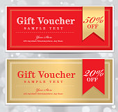 Vector illustration of a set of three vintage or retro gift certificates with copy space areas alloted to personalize. Red and gold and retro Gift Certificates and wine labels please see my portfolio. Forms, horizontal, gift card, gift certificate. Printable. Assorted text sample designs include 'Gift Card', 'A gift for you', 'Vintage'. Also includes ribbon and bow label.