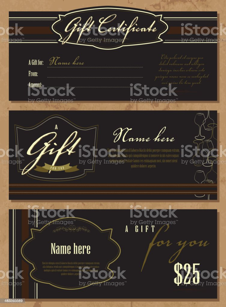 Set Of Vintage Gift Certificate Design Templates Stock Vector Art