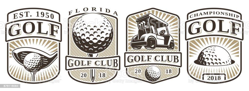 Conjunto de vintage emblems de golfe - ilustração de arte em vetor