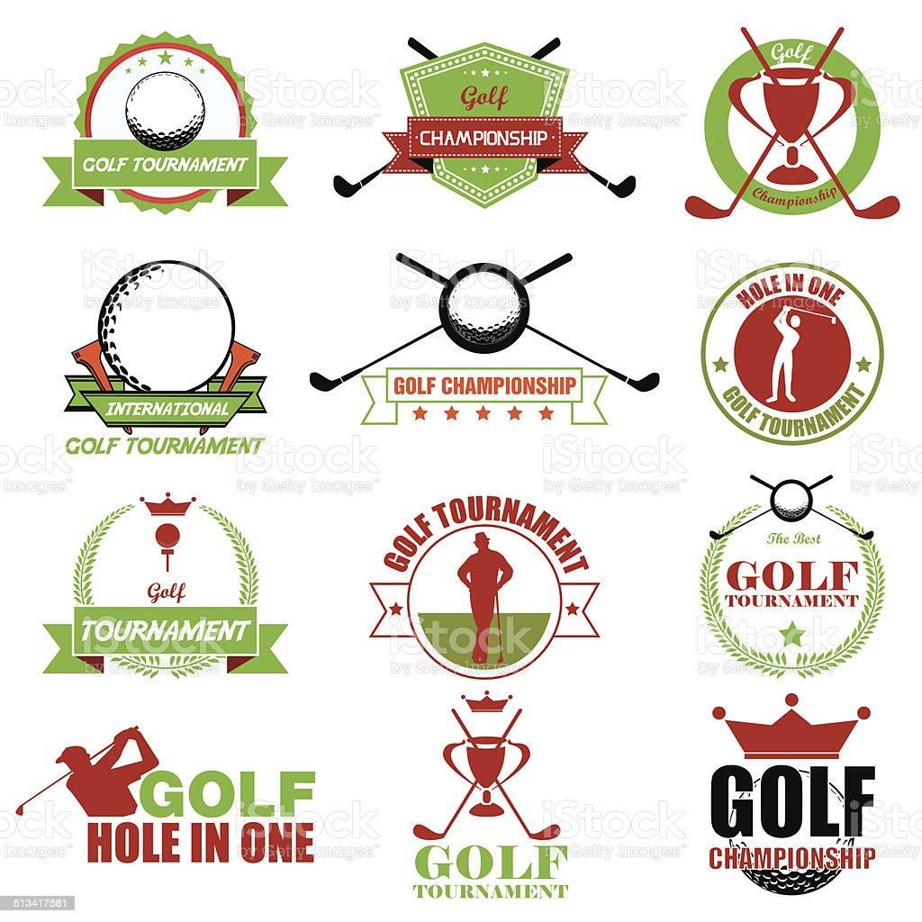 Satz von vintage golf Etiketten, Abzeichen und emblems. Vektor-Illustrat – Vektorgrafik