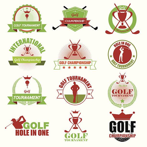 Satz von vintage golf-Turnier-Logo versehen.  Vektor-Illustration – Vektorgrafik