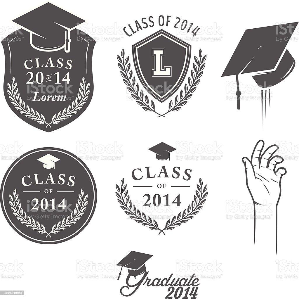 Set of vintage graduation labels, badges and design elements vector art illustration