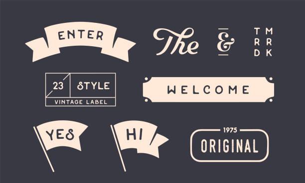 satz von vintage grafik. design-elemente, lineare zeichnung - altertümlich stock-grafiken, -clipart, -cartoons und -symbole