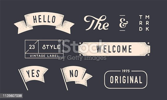Set of vintage graphic. Design elements, linear drawing, vintage hipster style. Flag, ribbon, banner, border, style elements, the and ampersand. Set of vintage retro graphic. Vector Illustration