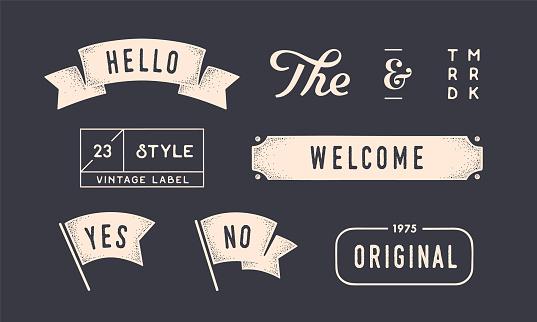 Set of vintage graphic. Design elements, linear drawing, vintage hipster style. Flag, ribbon, banner, border, style elements, the and ampersand. Set of vintage retro graphic. Vector Illustration
