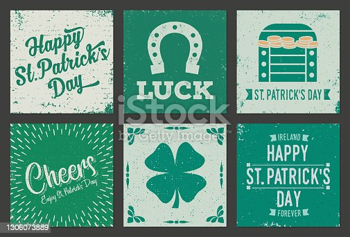 Set of vintage, grunge squared greeting cards for St Patrick's Day. Very textured and weathered.