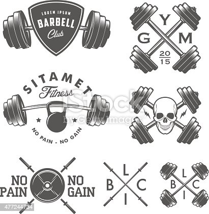 Set of vintage gym emblems, labels and design elements.