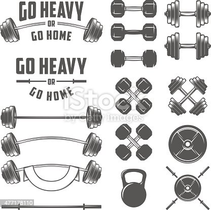 Set of vintage gym equipment, quotes and design elements.