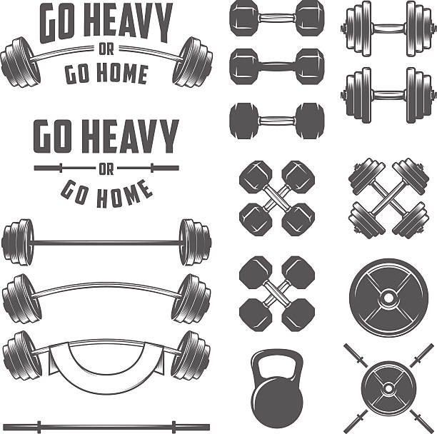Set of vintage gym equipment, quotes and design elements Set of vintage gym equipment, quotes and design elements. weight stock illustrations
