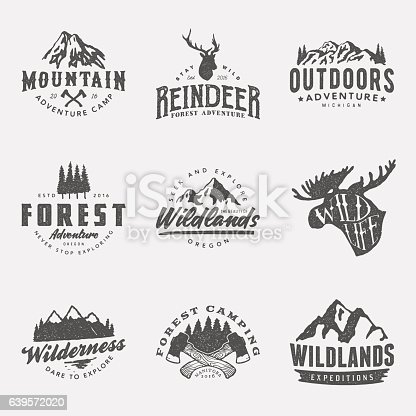 set of vintage hand drawn outdoor adventure badges and labels. vector logo templates with ink texture