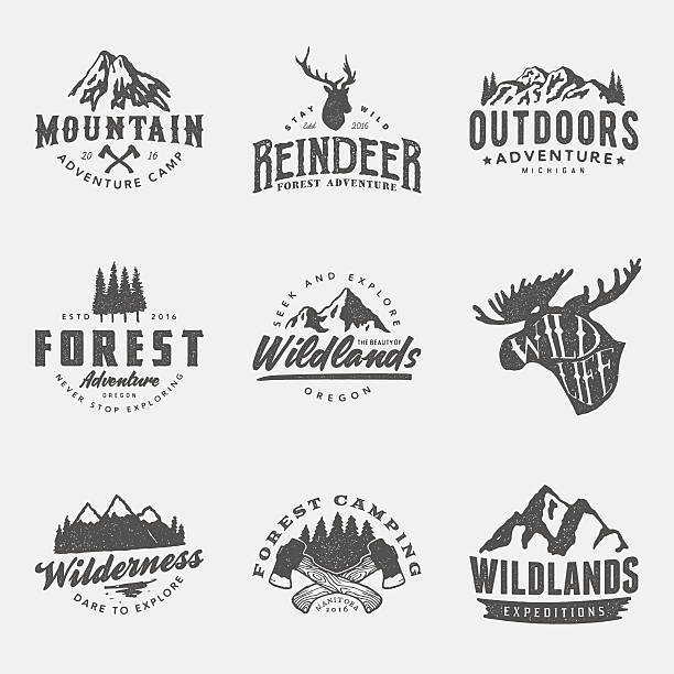 set of vintage hand drawn outdoor adventure badges and labels vector art illustration