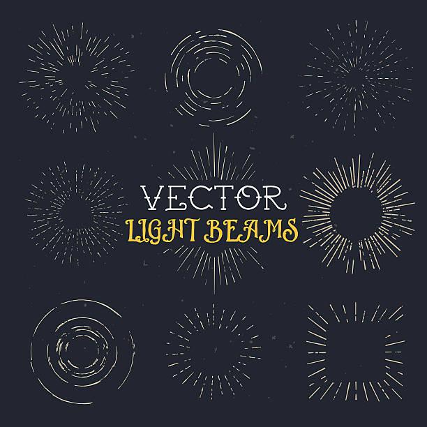 Satz von vintage hand drawn ray Bilder und starburst-Vorlage – Vektorgrafik