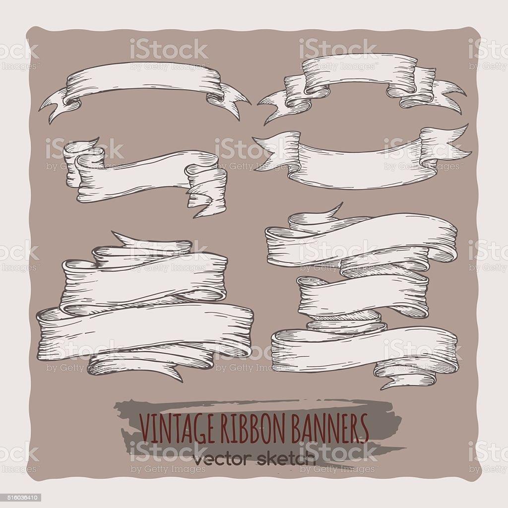 Set of vintage hand drawn ribbon banners. vector art illustration