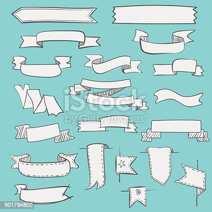 Set of vector hand drawn vintage ribbons and labels.