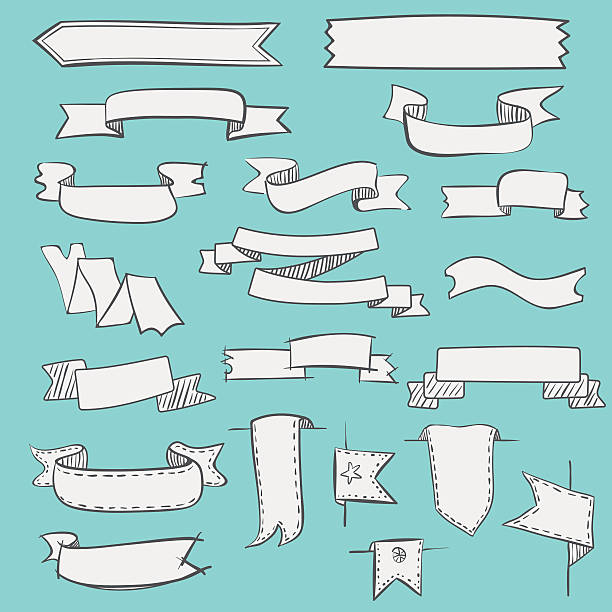 Set of vintage hand drawn ribbons and labels Set of vector hand drawn vintage ribbons and labels. pennant stock illustrations