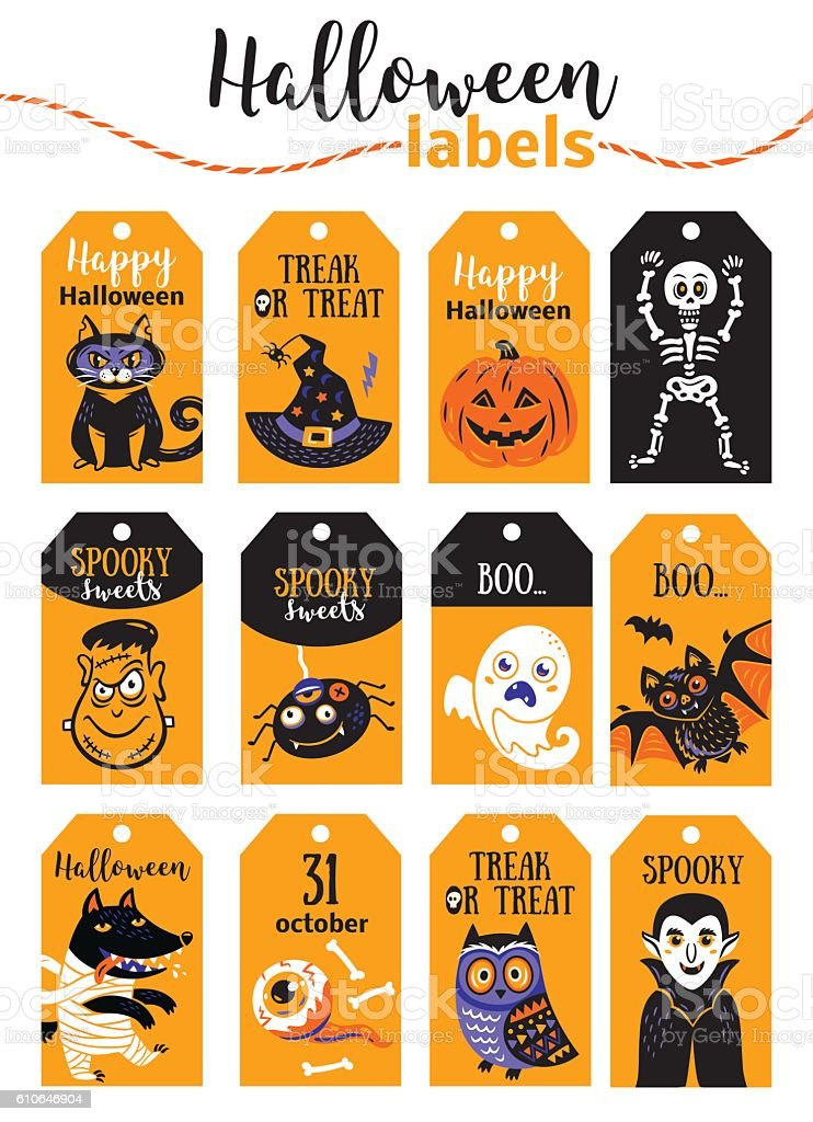 set of vintage happy halloween badges and labels cartoon design