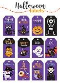 Set of vintage Happy Halloween badges and labels. Cartoon design.