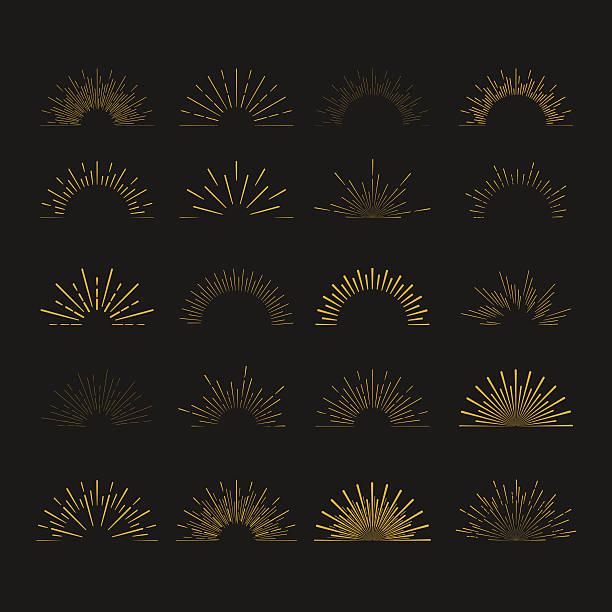 set of  vintage hipster linear sunbursts. retro chalkboard logo elements - fireworks vector art stock illustrations, clip art, cartoons, & icons