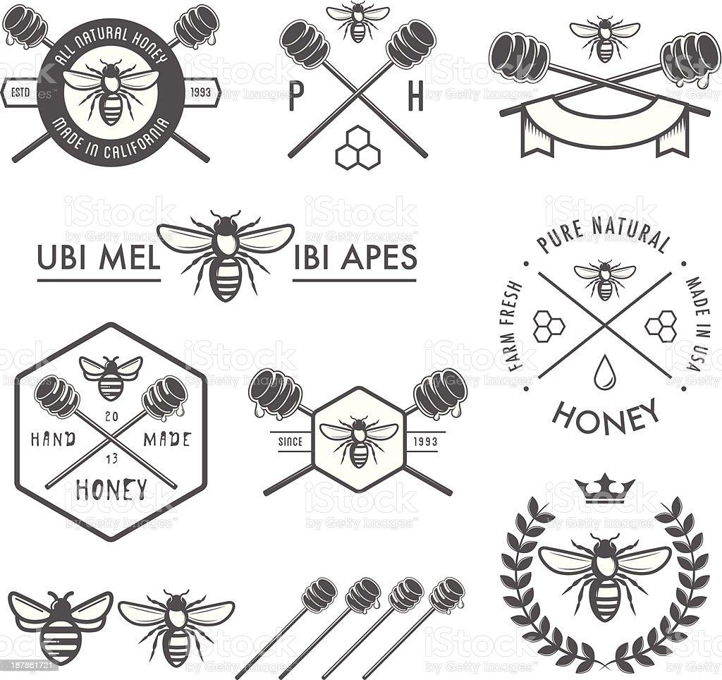 Set of vintage honey design elements on white vector art illustration