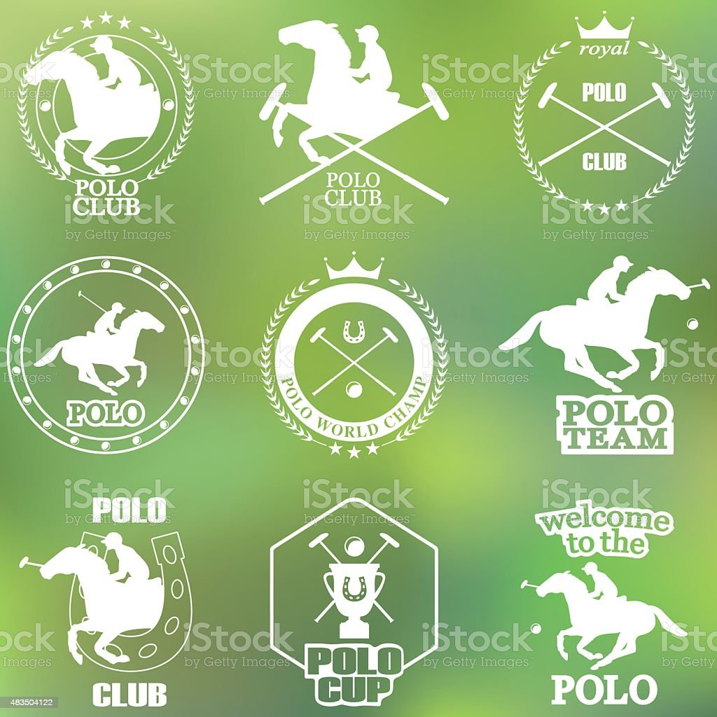 Set of vintage horse polo club labels and badges