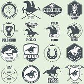 Set of vintage horse polo club labels