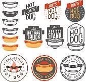 Set of vintage hot dog labels, badges, emblems and design elements.