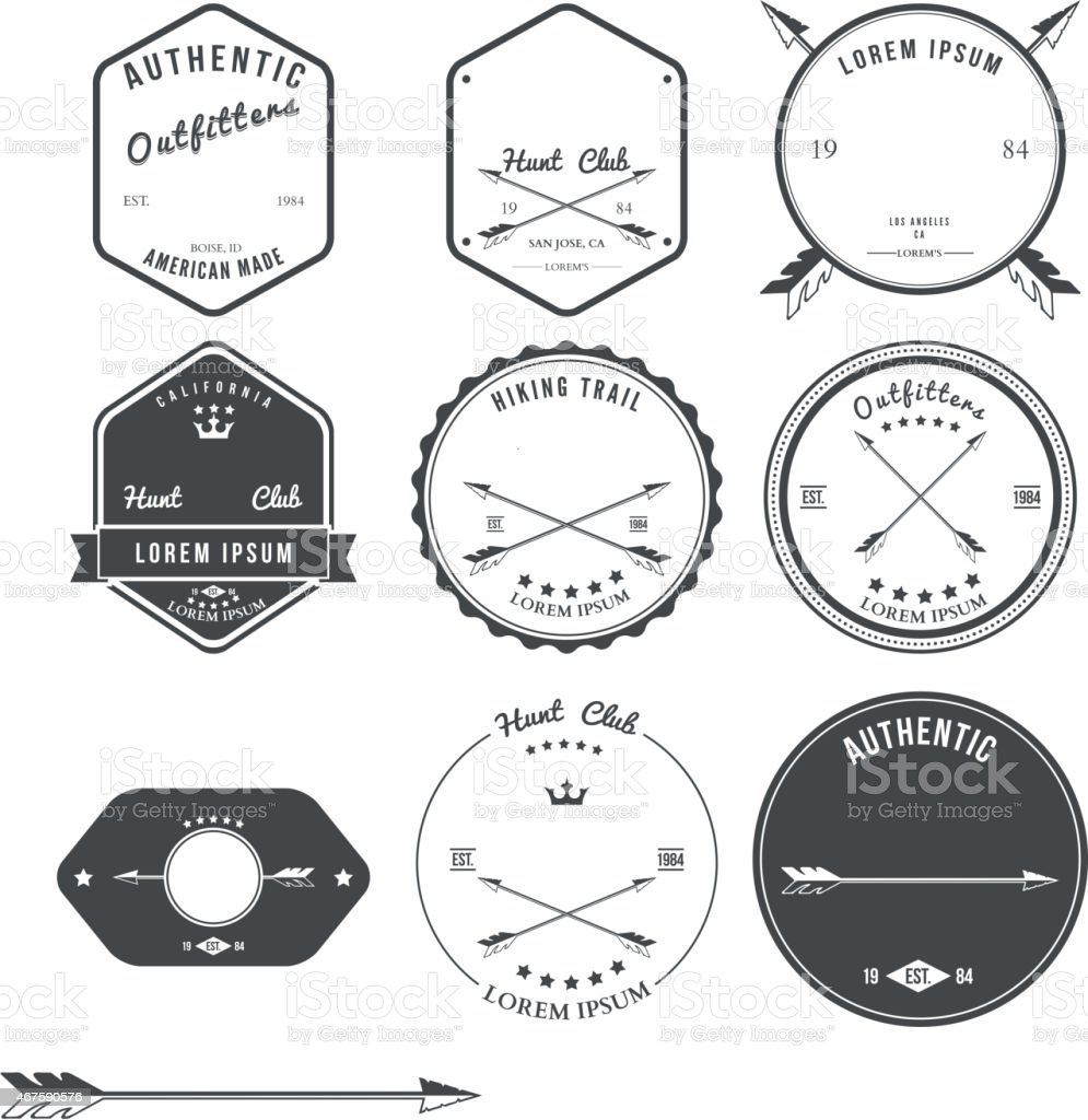 Set of vintage hunt icons, emblems and labels. Vector vector art illustration