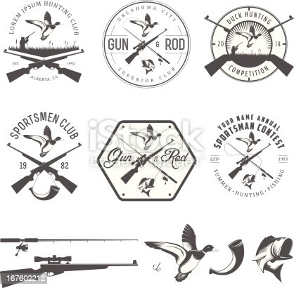 Set of vintage hunting and fishing labels and design elements.