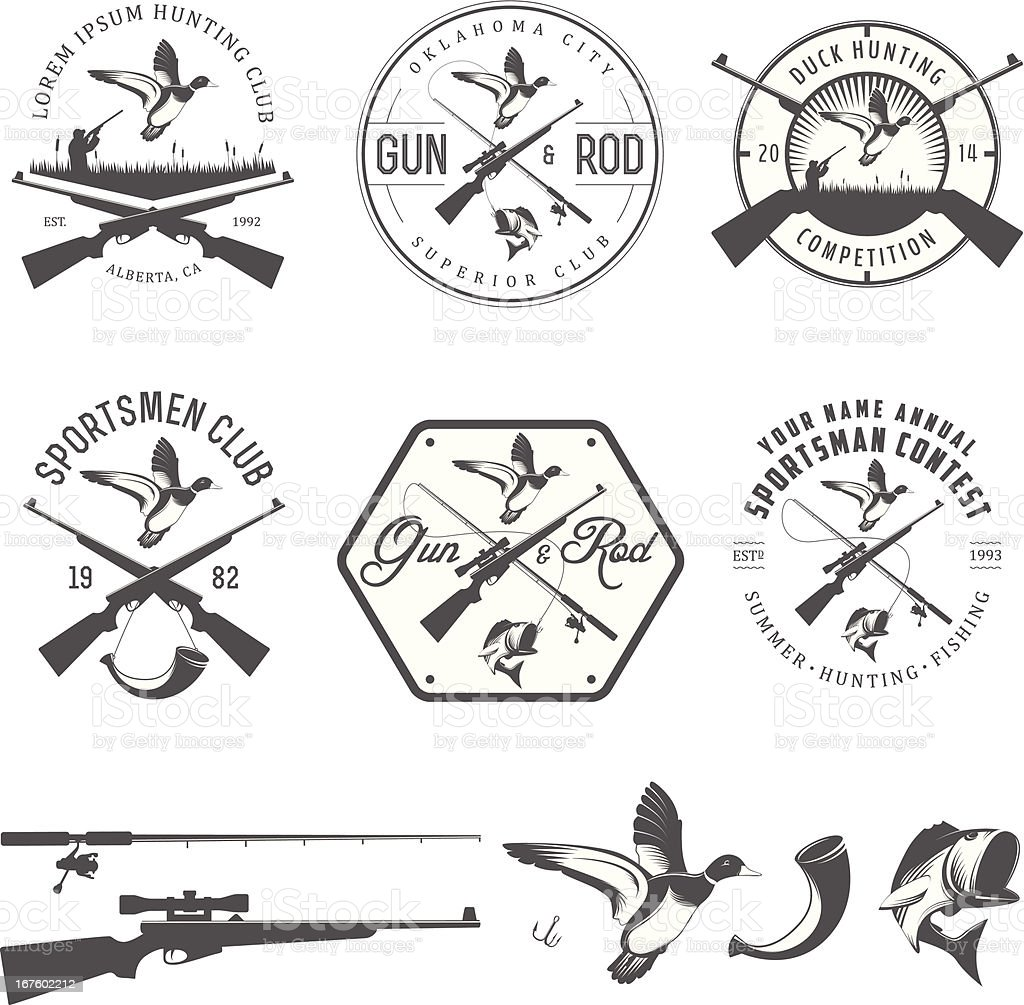 Set of vintage hunting and fishing design elements vector art illustration