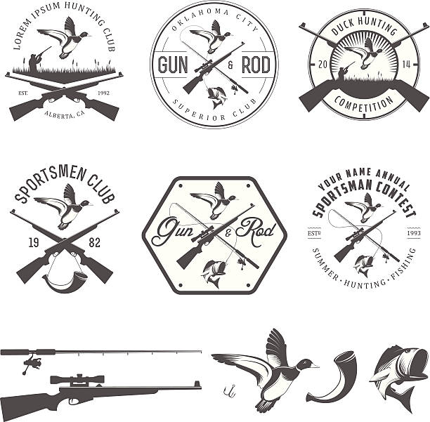 stockillustraties, clipart, cartoons en iconen met set of vintage hunting and fishing design elements - gun shooting