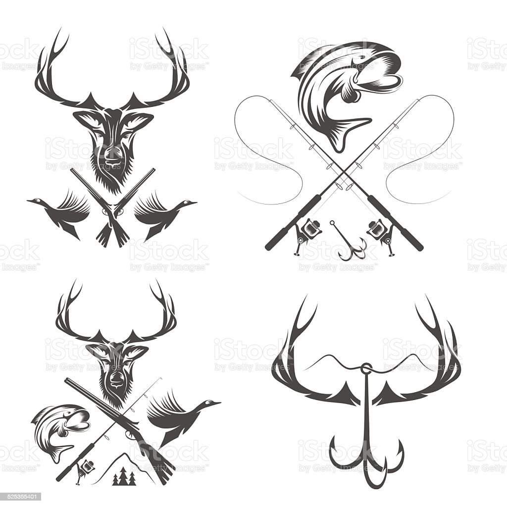 Set of vintage hunting and fishing labels and design elements vector art illustration