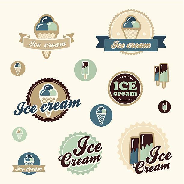 stockillustraties, clipart, cartoons en iconen met set of vintage ice cream shop logo badges and labels - vanille roomijs