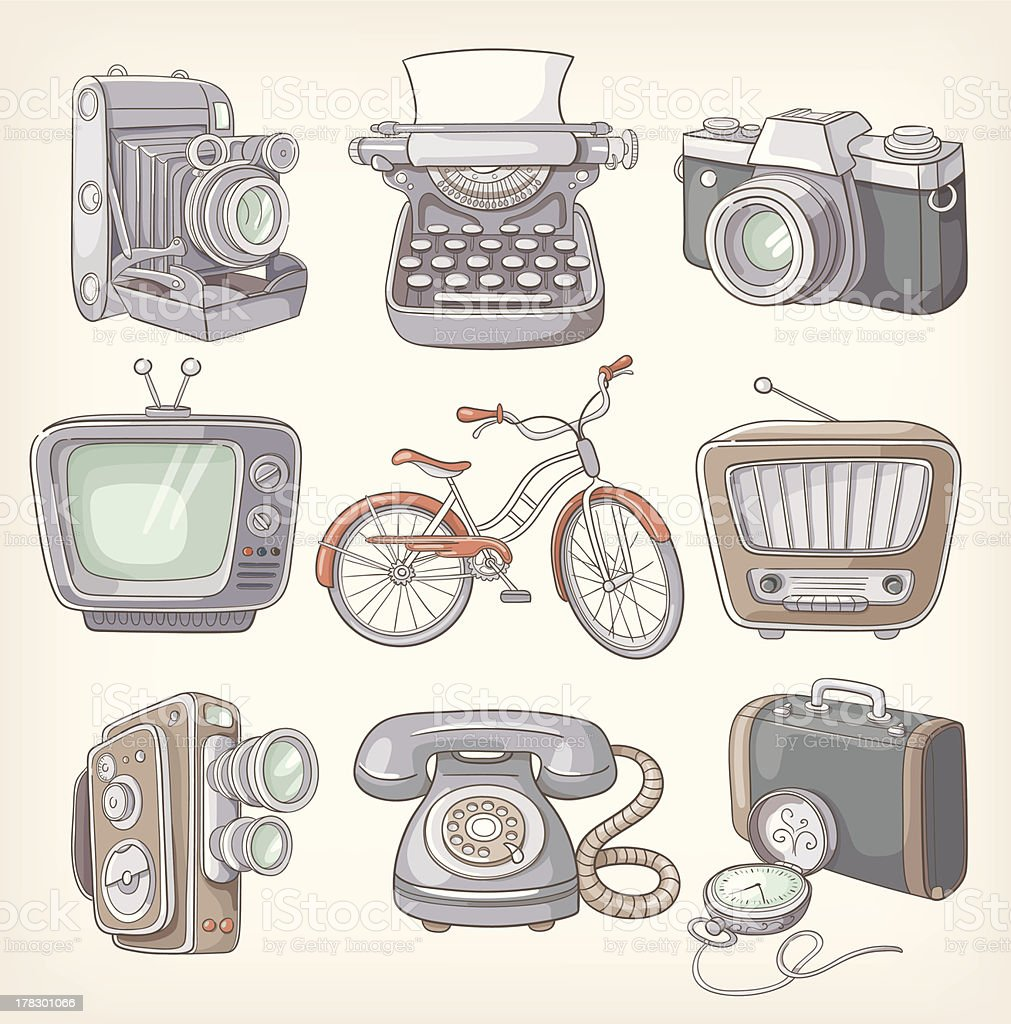 Set of vintage items icons royalty-free stock vector art
