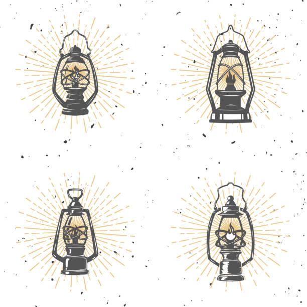 Set of vintage kerosene lamp illustration on white background. Set of vintage kerosene lamp illustration on white background. Design element for label, emblem, sign. Vector illustration lantern stock illustrations