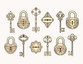 Set of vintage keys and locks
