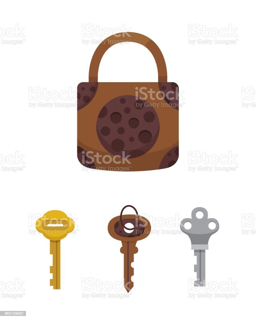 Vetores De Conjunto De Vindima Chaves E Fechaduras Cadeado