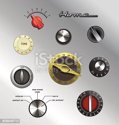 set of vintage knobs and controls from electronics and appliances