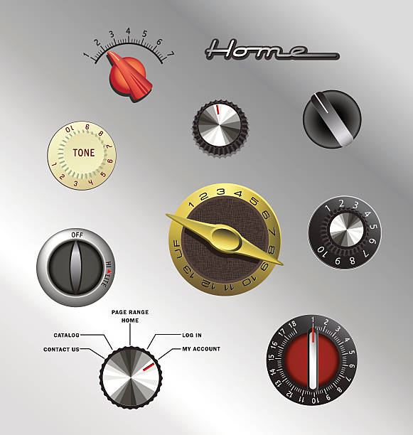 set of vintage knobs and controls from electronics and appliances set of vintage knobs and controls from electronics and appliances knob stock illustrations