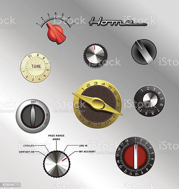 Set Of Vintage Knobs And Controls From Electronics And Appliances Stock Illustration - Download Image Now