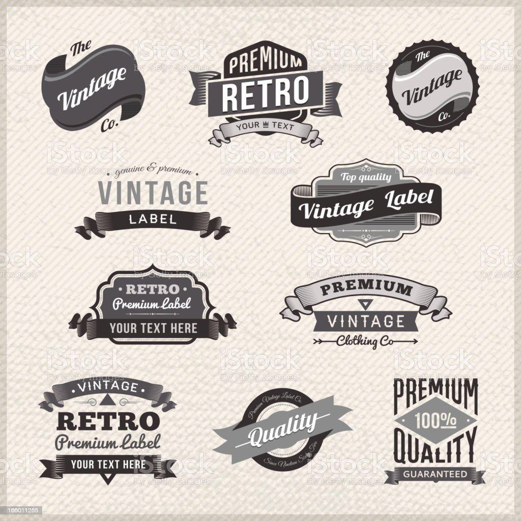 Set of vintage labels and badges on grunge frame royalty-free stock vector art