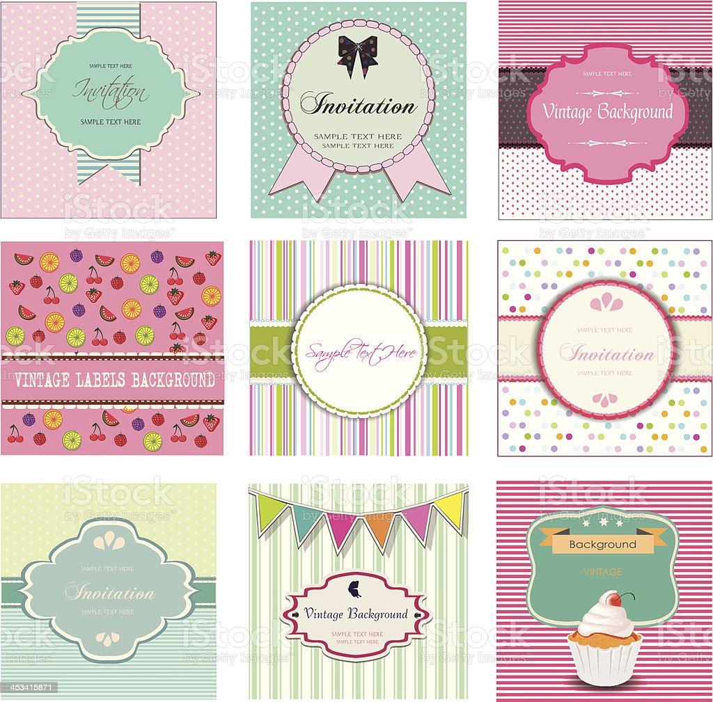 Set of vintage labels and invitations, vector desig vector art illustration