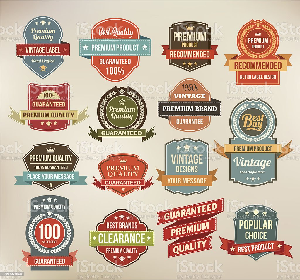A set of vintage labels and ribbons royalty-free a set of vintage labels and ribbons stock vector art & more images of 1950-1959