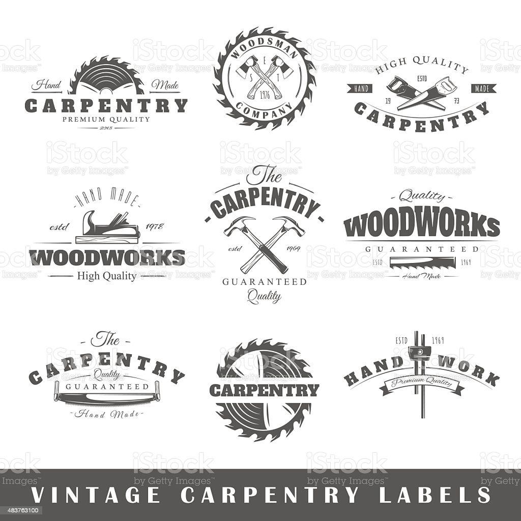 Conjunto de etiquetas vintage carpintería - ilustración de arte vectorial