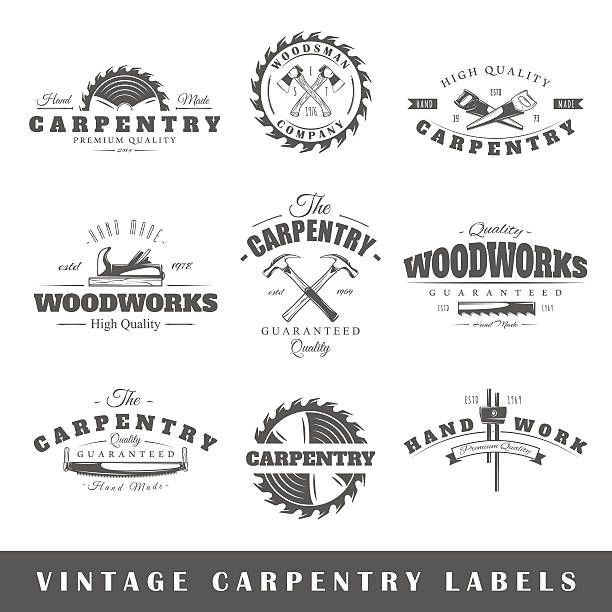 set of vintage labels carpentry - carpenter stock illustrations, clip art, cartoons, & icons