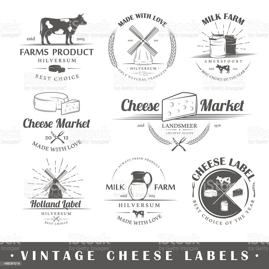 Set of vintage labels cheese vector art illustration