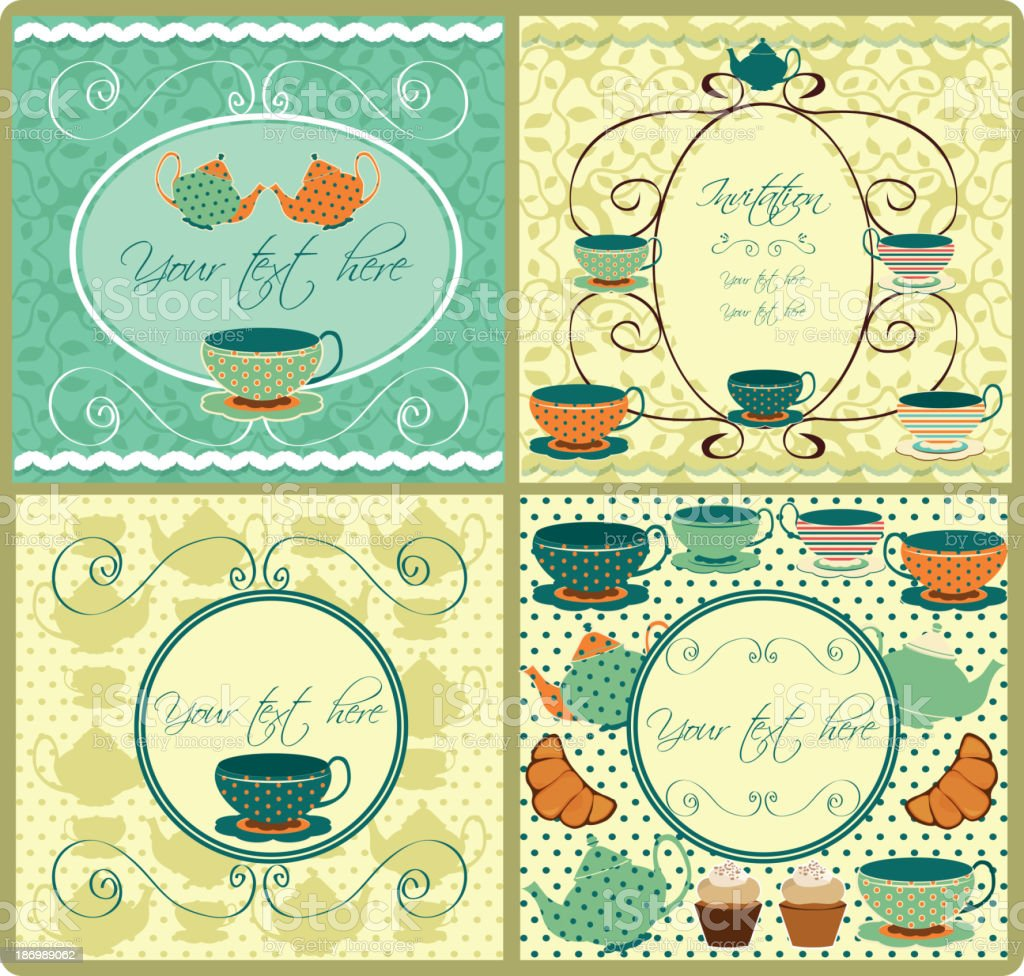 set of vintage labels for tea shop and bakery royalty-free stock vector art
