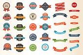 Set of vintage Labels, Ribbons, Sticker and Badges