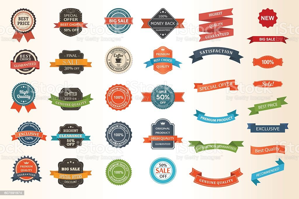 Set of vintage Labels, Ribbons, Sticker and Badges vector art illustration